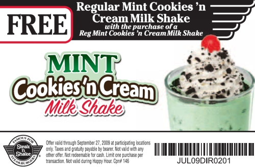 image about Steak and Shake Coupons Printable identify Steak N Shake: BOGO Mint Cookies N Product Shake coupon