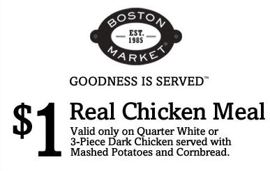 Boston Market Real Chicken Meal