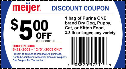 photograph relating to Purina One Printable Coupon identify Meijer: $5 Purina A single Printable Coupon - Hunt4Freebies