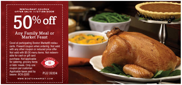 Boston Market 50% Off Any Family Meal or Feast