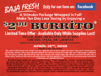 image regarding Baja Fresh Coupons Printable named Baja Clean: $2 Burrito At present Merely With Printable Coupon