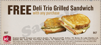 graphic regarding Jack in the Box Printable Coupons identify Jack inside the Box: Cost-free Deli Trio Grilled Sandwich w/any
