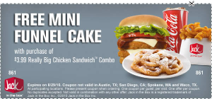 photograph about Jack in the Box Printable Coupons called Jack Within The Box: Totally free Mini Funnel Cake w/ Get Printable