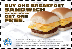 image regarding White Castle Printable Coupons named White Castle: BOGO Totally free Breakfast Sandwich Printable Coupon