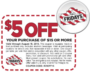 graphic relating to Tgifridays Printable Coupons referred to as T.G.I. Fridays: $5 off $15 Printable Coupon - Hunt4Freebies