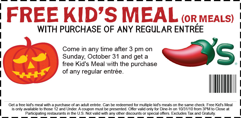 image relating to Chilis Printable Coupons identify Chilis: Absolutely free Children Dinner w/ entree Order upon Halloween