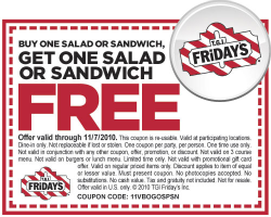 graphic regarding Fridays Printable Coupon titled T.G.I. Fridays: BOGO Free of charge Salad or Sandwich Printable Coupon