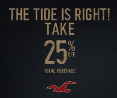 hollister is offering a 25 off purchase printable coupon starts november 20 november 21