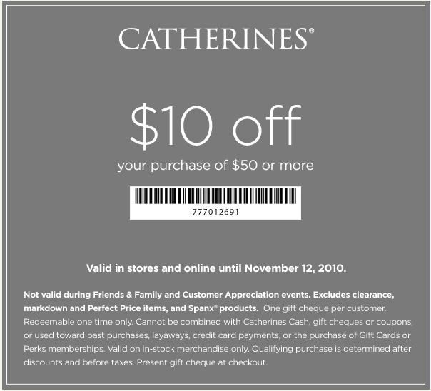 photograph relating to Catherines Printable Coupons known as Catherines: $10 off $50 Printable Coupon - Hunt4Freebies