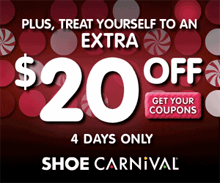 picture regarding Shoe Carnival Coupon Printable identified as Shoe Carnival: $10 off $59.98 or $20 off $100 Printable