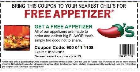 Chilis FREE Appetizer W Entree Purchase Printable Coupon