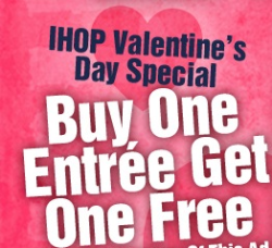 photo regarding Ihop Printable Coupons called IHOP: BOGO Free of charge Entree Printable Coupon upon Valentines Working day