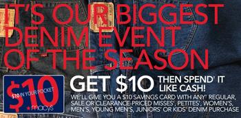 Macys 10 Macys: $10 Savings Card with ANY Jeans Purchase