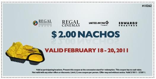 Nachos Coupon Regal Cinemas: $2 For Nachos Printable Coupon 2/18 to 2/20