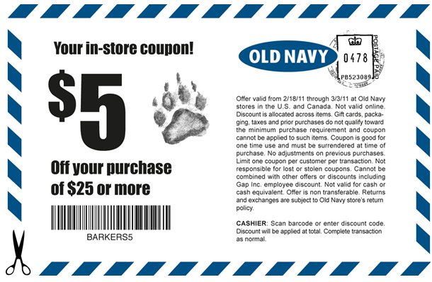 photo regarding Old Navy Printable Coupon referred to as Outdated Armed forces: $5 off $25 Order Printable Coupon (Up-to-date