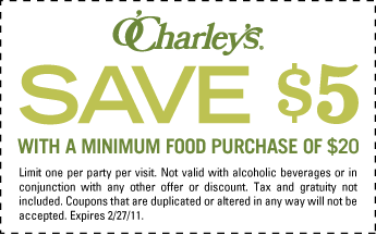 graphic relating to O Charley's Printable Coupons identify OCharleys: $5 off $20 Buy Printable Coupon