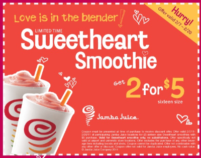 Sweatheart Smoothie w400 h400 Jamba Juice: Sweetheart Smoothies Coupon For 2/$5