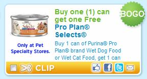BOGO FREE Pro Plan Select Coupon BOGO FREE on Purina Pro Plan Brand Pet Food Selects Printable Coupon