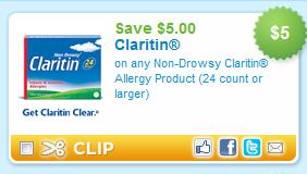 Claritin Coupon $5 off Claritin Printable Coupon