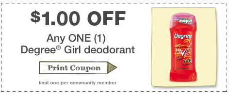 Degree Coupon $1 off Degree Girl Deodorant Printable Coupon