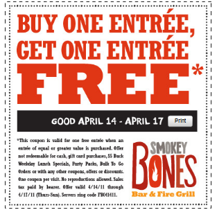 photo about Smokey Bones Coupons Printable called Smokey Bones: Fresh BOGO Free of charge Entree Printable Coupon