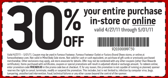 picture relating to Famous Footwear Printable Coupon identified as Popular Shoes: 30% off Order Printable Coupon