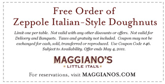 photo about Maggianos Printable Coupon known as Maggianos: Cost-free Zeppole Italian-Structure Doughnuts Printable