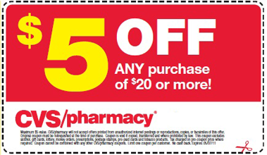 image about Cvs Printable Coupons titled CVS: $5 off ANY Obtain of $20 Or Even more Printable Coupon