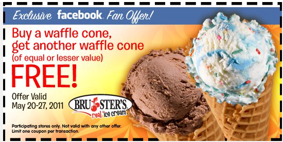 graphic relating to Ice Cream Coupons Printable called Brusters Correct Ice Product: BOGO No cost Waffle Cone Printable