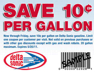 graphic regarding Sonic Printable Coupon identify Delta Sonic: $0.10 off For each Gallon of Gasoline Coupon - Hunt4Freebies