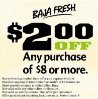 graphic about Baja Fresh Coupons Printable called Baja Contemporary: $2 off $8 and $5 off $15 Printable Coupon codes