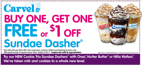 image about Carvel Coupon Printable referred to as Carvel Ice Product: BOGO Absolutely free or $1.00 off Sundae Dasher