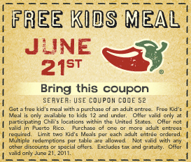 Just found a hot new coupon for your next Chili's meal, which needs to be today! With this coupon, you can buy a free adult entree and your child can eat free. Check the coupon for more information and head to Chili's! Chili's Coupon - Free Kids Meal Expires June