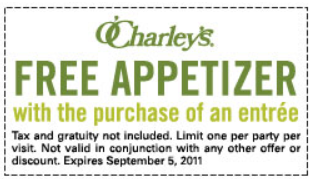 OCharleys FREE Appetizer OCharleys: FREE Appetizer with Entree Purchase Coupon