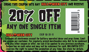 Halloween City: 20% off One Item Purchase Coupon - Hunt4Freebies