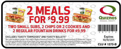 Quiznos Coupon Quiznos Coupon: 2 Meals for ONLY $9.99