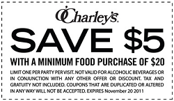 photo about O'charley's 20 Off Printable Coupon identified as OCharleys: $5 off $20 Buy Coupon - Hunt4Freebies