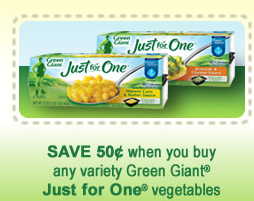 Green Giant Just for One Vegetables $0.50 ANY Green Giant Just for One Vegetables Printable Coupon