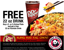 graphic relating to Panda Express Printable Coupons identify Panda Specific: Free of charge Fountain Consume wyb 2 or 3 Entrees Plate