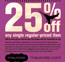 photograph regarding Maurices Printable Coupons titled Maurices: 25% off ANY Just one One-Every month Priced Products Coupon