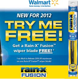 Rain X Fusion Wiper Blade FREE Rain X Fusion Wiper Blade Mail In Rebate at Walmart