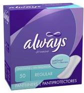 Always Pantiliners $0.50 off Always Pantiliners Coupon
