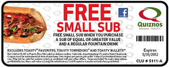 FREE Small Sub at Quiznos Quiznos: FREE Small Sub wyb Sub and Drink Coupon