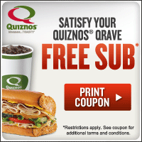 Quiznos Banner 3 NEW Quiznos Coupons: FREE Small Sub with Purchase and More