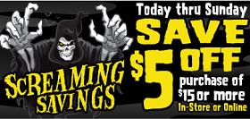 Spirit Halloween1 Spirit Halloween: $5 off $15 Purchase Coupon