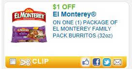 El Monterey Coupon $1 off El Monterey Family Pack Burritos Coupon