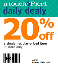 Pier 1 Imports1 Pier 1 Imports: 20% off One Item at Purchase Coupon