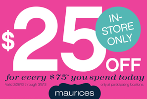 photo relating to Maurice Printable Coupons identified as Maurices: $25 off $75 Buy Coupon - Hunt4Freebies