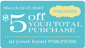 graphic relating to Maurice Printable Coupons referred to as Maurices: $5 off Your Overall Invest in Coupon - Hunt4Freebies