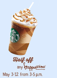 Starbucks Happy Hour Starbucks: 50% Off Any Frappuccino Beverages